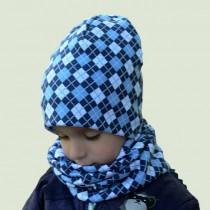Zimowa czapeczka dla chłopca typu krasnal + komin