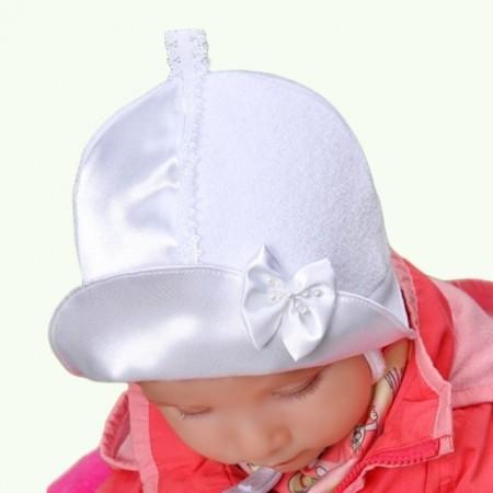 Wiosenna czapeczka z frotki dla dziewczynki