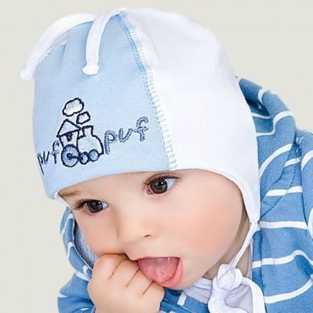 Wiosenna czapeczka dla chłopca'' Puf  Puf''