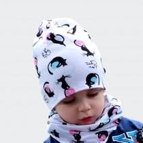 Jesienna czapeczka dla dziewczynki lub chłopca typu krasnal + komin