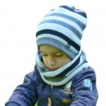 Zimowa czapeczka dla chłopczyka  typu krasnal + komin