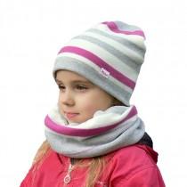 Zimowa czapeczka dla dziewczynki  typu krasnal + komin