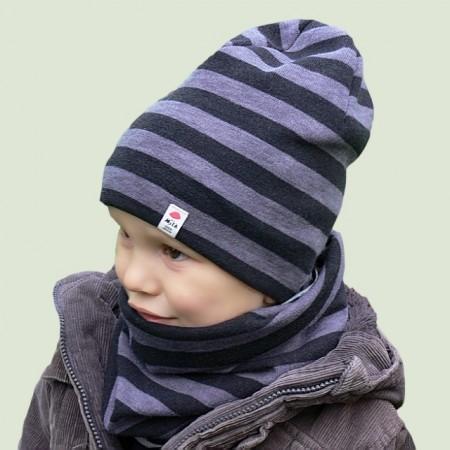 Wiosenna czapeczka dla chłopca typu krasnal + komin