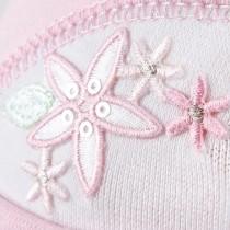 Wiosenna czapeczka dla dziewczynki Kwiatek z cekinami