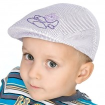Kaszkiet w paski dla chłopca z samolotem na lato