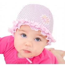 Wiosenny kapelusik dla dziewczynki w groszki